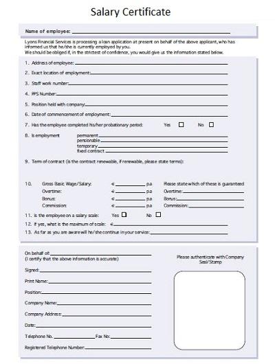 Basic Salary Certificate Template
