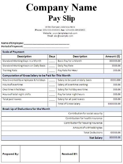 Blank Salary Slip Example