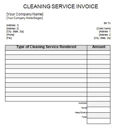 cleaning invoice example