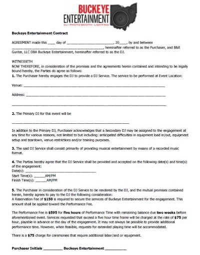 dj contract template doc