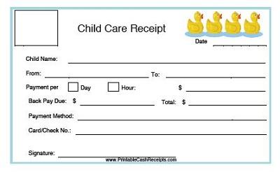 babysitting receipts template