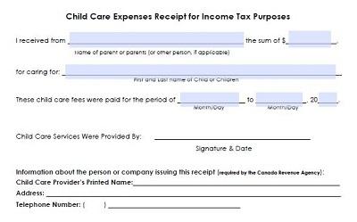 child care receipt template