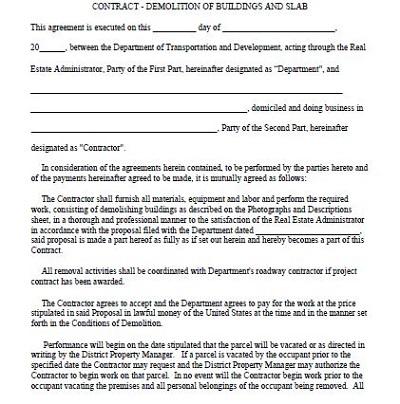 standard demolition contract