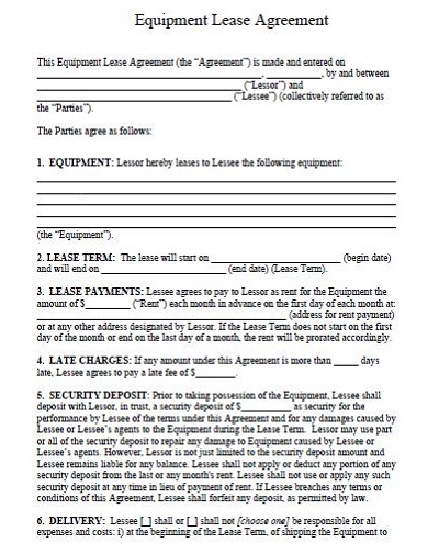 semi trailer lease agreement form