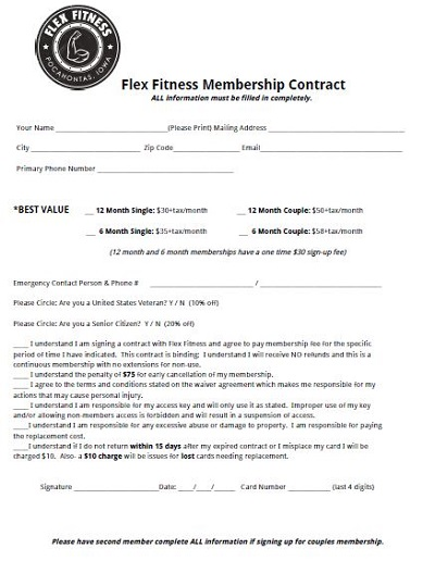 Flex Fitness Gym Membership Contract
