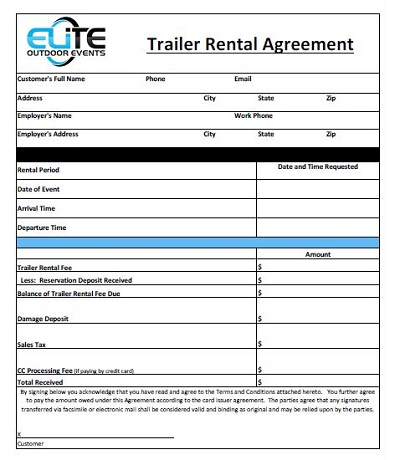 trailer rental agreement form