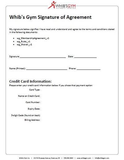 Gym Membership Agreement
