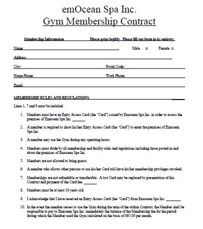 gym membership terms and conditions template