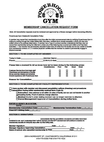 Membership Cancellation Request Form