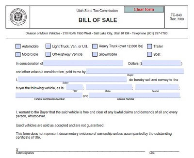 utah automotive bill of sale