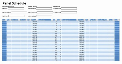 cutler hammer panel schedule template