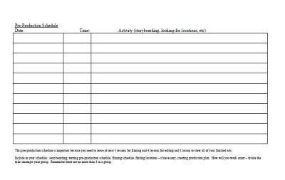 Pre Production Schedule