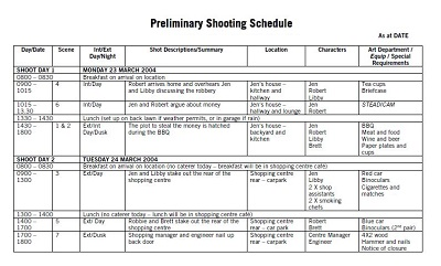 Preliminary Shooting Schedule