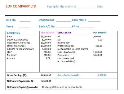 Private Job Salary Slip
