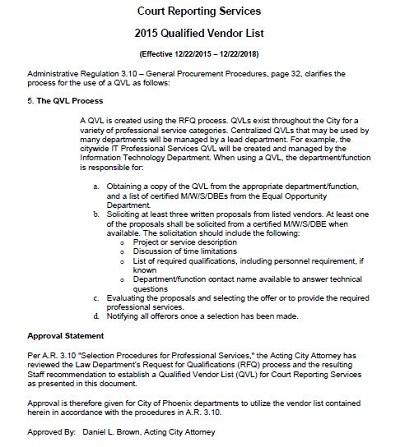 Qualified Vendor List