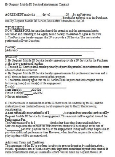 dj contract agreements
