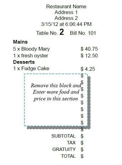 restaurant receipt book