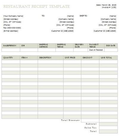 food invoice template