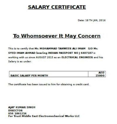Salary Certificate Example
