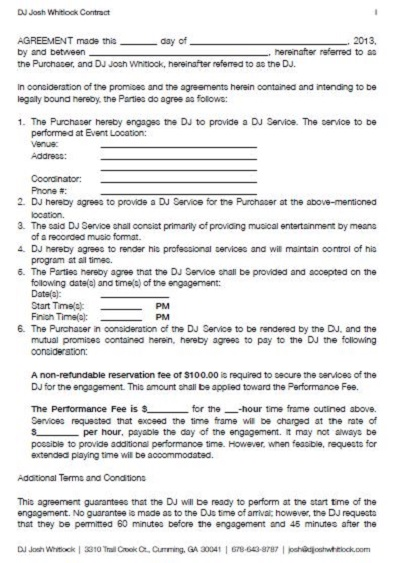 dj contract template agreement