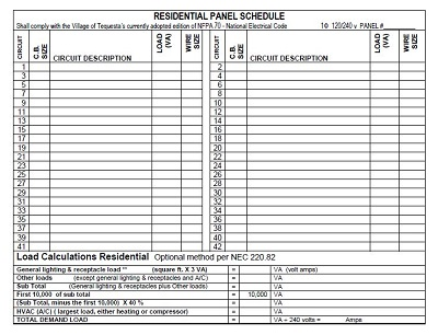 electric panel schedule template