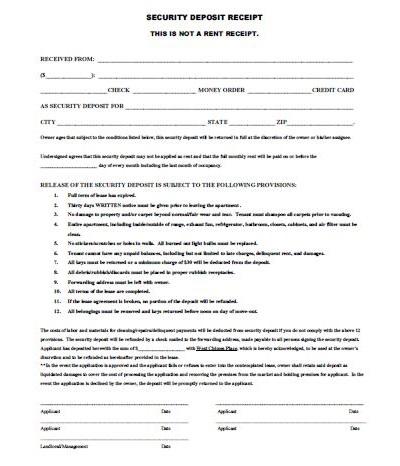 rent deposit receipt form