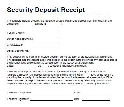 rent and security deposit receipt form