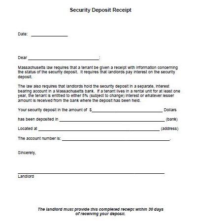 rental deposit receipt form