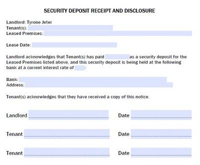 rent security deposit receipt