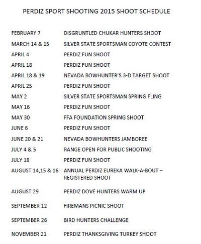 Sport Shooting Schedule
