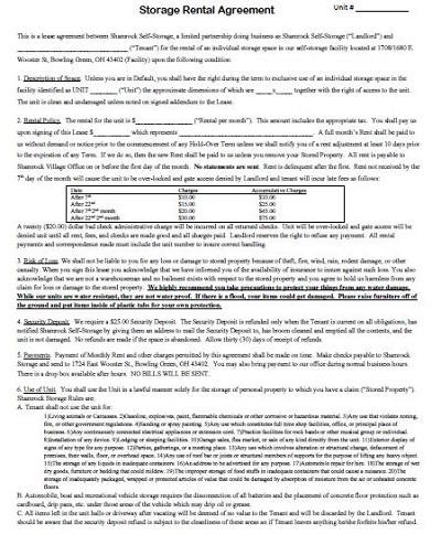 storage rental contract