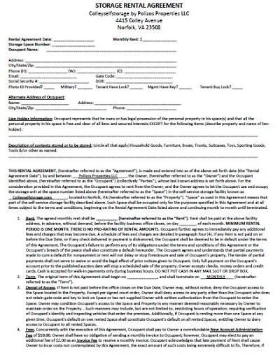 storage unit contract