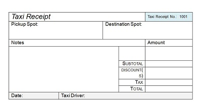 cab receipt template