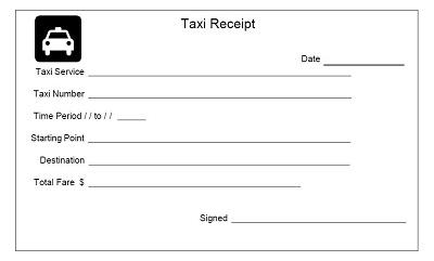 taxi receipt blank