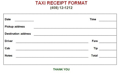 taxi receipts printable