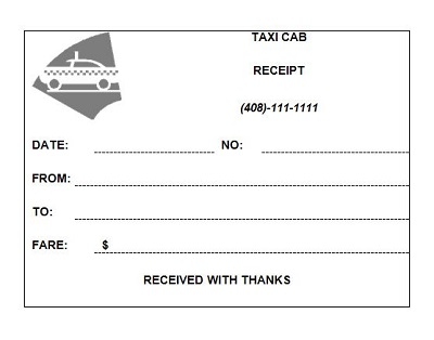 online taxi receipt