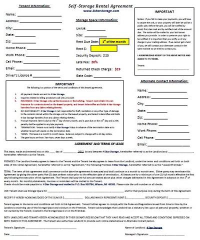 storage unit rental agreement template