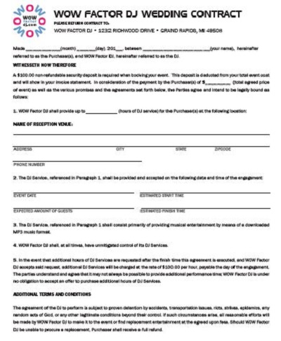 dj contract form
