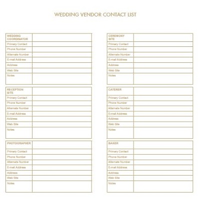 Wedding Vendor Contact List