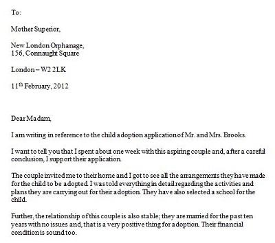 adoption recommendation letter