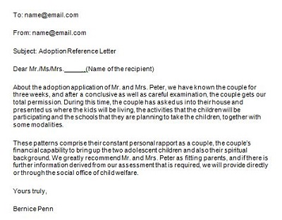 adoption reference letter examples
