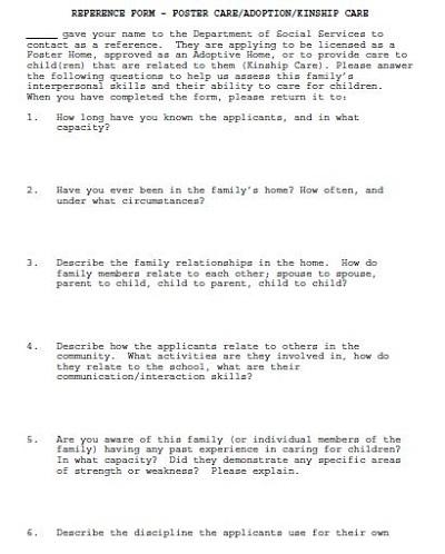 reference letter for adoptive parent