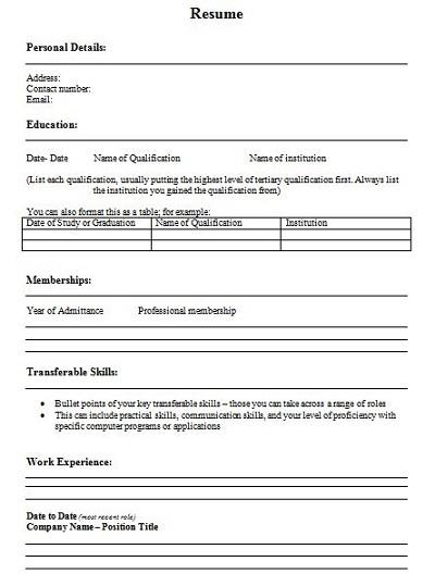 free cv template uk