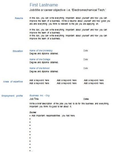 cv blank template