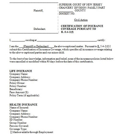 certificate of insurance form sample
