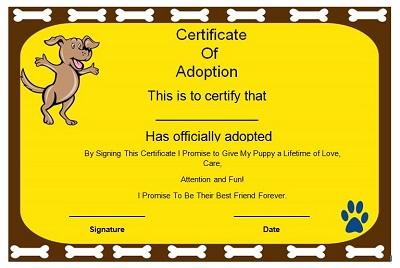 dog adoption certificates