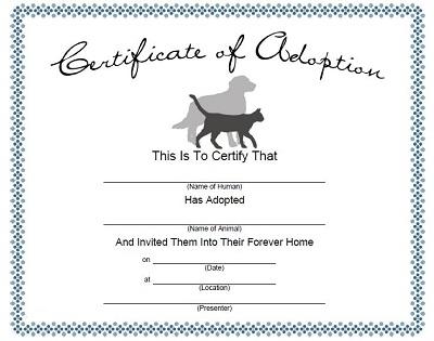 Dog Adoption Certificate
