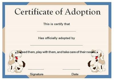 pet adoption certificates