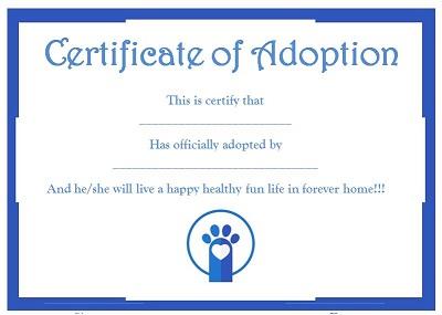 free printable puppy adoption certificate