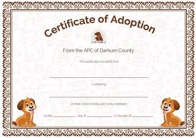 pet adoption certificate printable